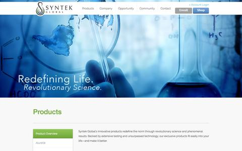 Screenshot of Products Page syntekglobal.com - Syntek Global - Products - captured Sept. 22, 2014