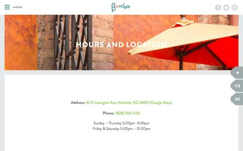 Screenshot of Hours Page ashevillebouchon.com - Hours and Location - Bouchon - captured Nov. 23, 2016
