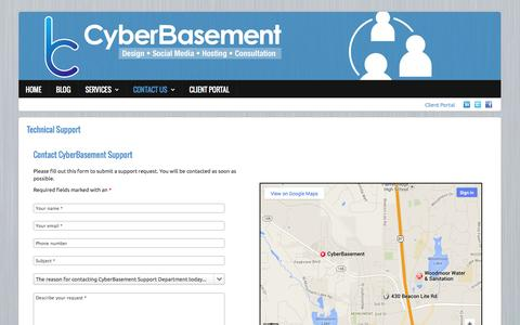 Screenshot of Support Page cyberbasement.com - CyberBasement Customer Support - captured Sept. 30, 2014