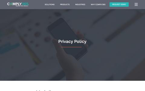 Screenshot of Privacy Page comply365.com - Privacy Policy - captured Feb. 21, 2016