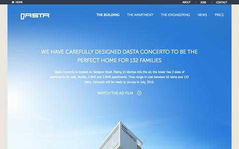 Screenshot of Home Page dasta.in - Dasta Concerto 2 & 3 BHK Apartments on Sarjapur Main Road - captured Aug. 29, 2015