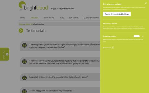 Screenshot of Testimonials Page bright-cloud.net - Testimonials - BrightCloud Technologies - captured Aug. 3, 2018