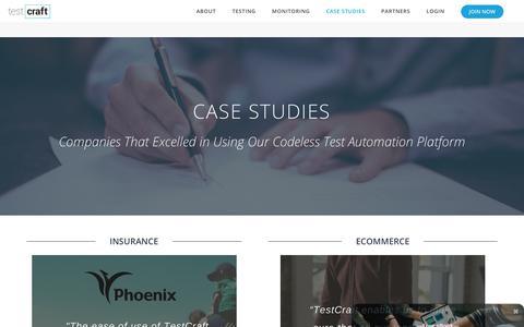 Screenshot of Case Studies Page testcraft.io - Case Studies | TestCraft - captured July 8, 2018