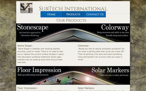 Screenshot of Products Page surtechintl.com - Products - captured Jan. 12, 2016