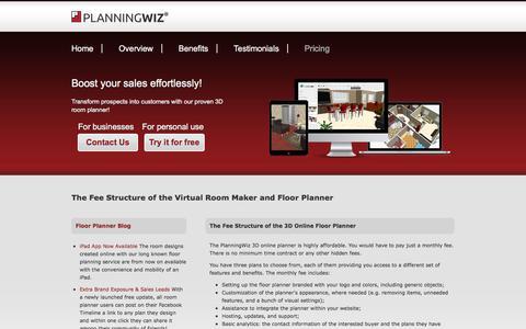 Screenshot of Pricing Page planningwiz.com - Floor design software online - pricing - captured Nov. 8, 2016