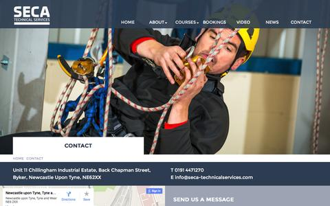 Screenshot of Contact Page seca-technicalservices.com - SECA Technical Services | IRATA Rope Access Courses Newcastle Upon Tyne - captured Dec. 18, 2015
