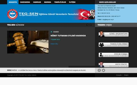 Screenshot of Home Page teg-sen.org.tr - TEG-SEN. Tüm Eğitim Gönüllüleri Sendikası - captured Oct. 10, 2015