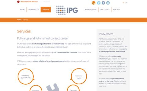 Screenshot of Services Page ipg-callcenter.ma - Full-range and full-channel contact center| IPG Morocco - captured May 15, 2016
