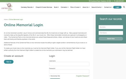 Screenshot of Login Page centennialpark.org - Online Memorial Login - Centennial Park - captured March 2, 2018