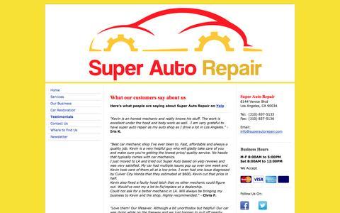 Screenshot of Testimonials Page superautorepair.com - Los Angeles - Super Auto Repair - Testimonials - captured Feb. 23, 2016