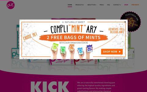Screenshot of Home Page pur-gum.com - PUR Gum - KICK ASPARTAME - captured July 18, 2015