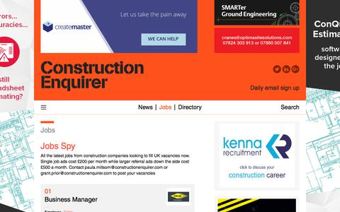 Screenshot of Jobs Page constructionenquirer.com - Jobs Spy    Construction Enquirer - captured Jan. 3, 2020