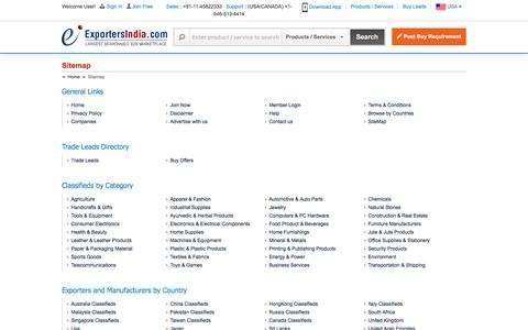Screenshot of Site Map Page exportersindia.com - Site Map - ExportersIndia.com - captured May 23, 2017