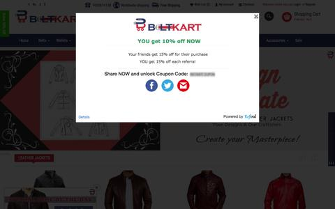 Screenshot of Home Page beltkart.com - Buy Leather Laptop Bags, Jackets, Handbags & Belts Online | BeltKart - captured Aug. 8, 2015