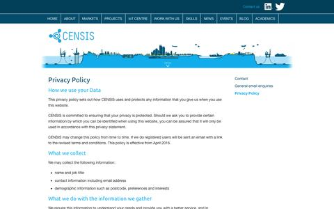 Screenshot of Privacy Page censis.org.uk - Privacy Policy | CENSIS - captured Oct. 4, 2016
