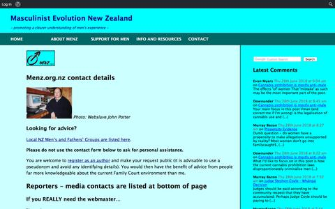Screenshot of Contact Page menz.org.nz - Contact – MENZ Issues - captured June 27, 2018