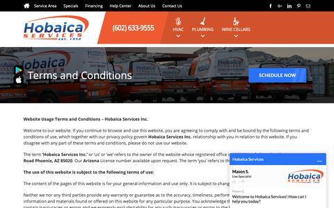 Screenshot of Terms Page hobaica.com - Terms and Conditions | Hobaica Services - captured Sept. 29, 2018