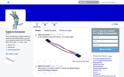 Screenshot of Twitter Page twitter.com - Cable & Connector (@callcct)   Twitter - captured Oct. 22, 2014