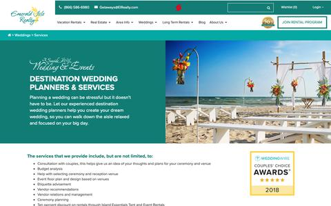 Screenshot of Services Page emeraldislerealty.com - Destination Wedding Planners & Services at Emerald Isle Realty - captured Sept. 28, 2018