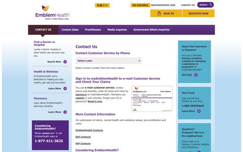 Screenshot of Contact Page Support Page emblemhealth.com - EmblemHealth Customer Service Contacts - Phone Numbers & Locations - captured Oct. 22, 2014