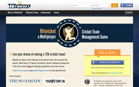 Screenshot of Signup Page hitwicket.com - Play free Online cricket games | Online T20 Cricket Management Game | Hitwicket - captured Sept. 18, 2014