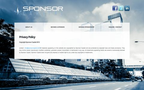 Screenshot of Privacy Page sponsorcapital.com - Privacy Policy - Sponsor Capital - captured Oct. 1, 2014