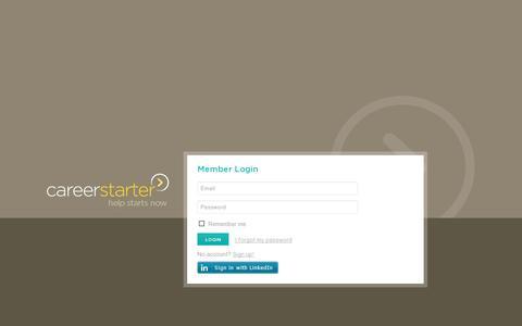 Screenshot of Login Page careerstarter.com - CareerStarter - captured July 19, 2014