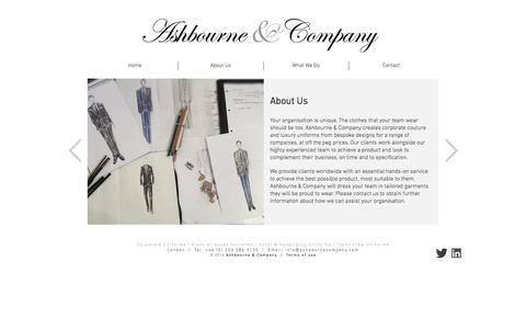 Screenshot of Home Page ashbournecompany.com - Ashbourne & Company   Bespoke Corporate Uniforms - captured Sept. 30, 2014