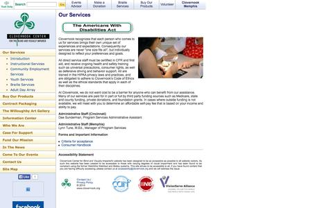 Screenshot of Contact Page clovernook.org - Contact Us - Clovernook Center for the Blind and Visually Impaired - captured Oct. 2, 2014