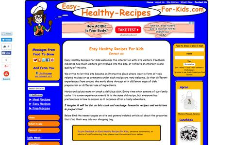 Screenshot of Contact Page easy-healthy-recipes-for-kids.com - Easy Healthy Recipes For Kids -- Contact Us - captured May 7, 2016
