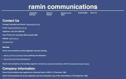 Screenshot of Privacy Page Contact Page Terms Page ramin.com.au - Contact Ramin Communications - captured Nov. 21, 2016