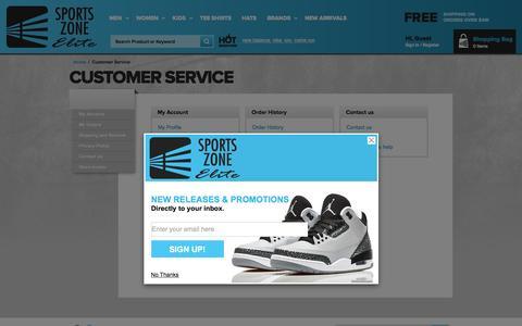 Screenshot of Support Page sportszoneelite.com - Customer Service - captured Jan. 14, 2016