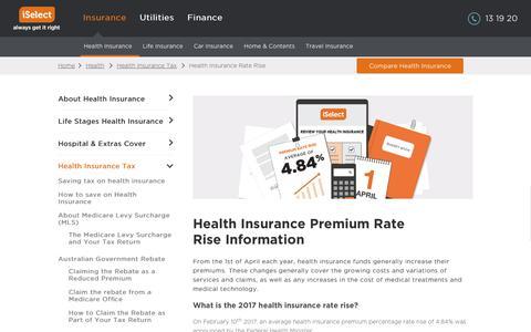 Screenshot of iselect.com.au - Health Insurance Premium Rate Rise | iSelect - captured Feb. 26, 2017