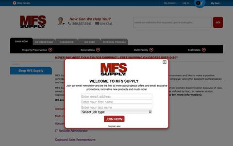 Screenshot of Jobs Page mfssupply.com - Careers - captured May 26, 2017