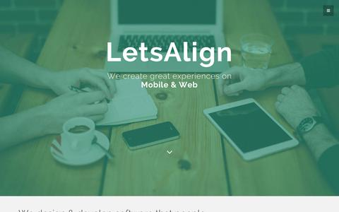 Screenshot of Contact Page letsalign.com - Mobile and Web Applications Design, Development & Analytics, iOS Swift, Android, Ruby on Rails - LetsAlign.com - captured Oct. 28, 2014