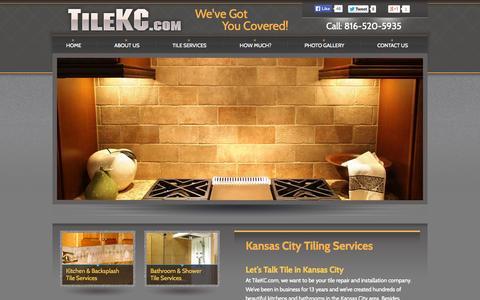 Screenshot of Home Page tilekc.com - Kansas City Tile Company | Tile Installation | Kitchen Tile | Bathroom Tile | Floor Tile | - captured Oct. 5, 2014