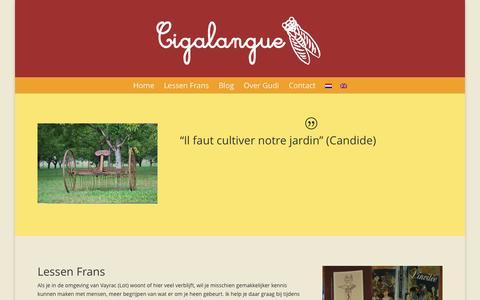 Screenshot of Home Page cigalangue.com - Cigalangue   Lessen Frans voor Nederlanders en Engelsen - captured July 3, 2015