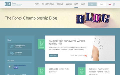 Screenshot of Blog theforexchampionship.com - Blog | The Forex Championship - captured Sept. 22, 2014