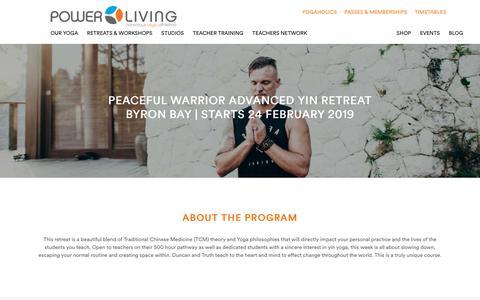 Screenshot of Signup Page powerliving.com.au - Peaceful Warrior –Advanced Yin Retreat - Byron Bay –Feb 2019 - captured Nov. 8, 2018