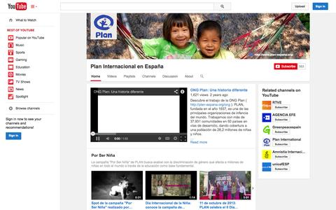 Screenshot of YouTube Page youtube.com - Plan Internacional en España  - YouTube - captured Oct. 22, 2014