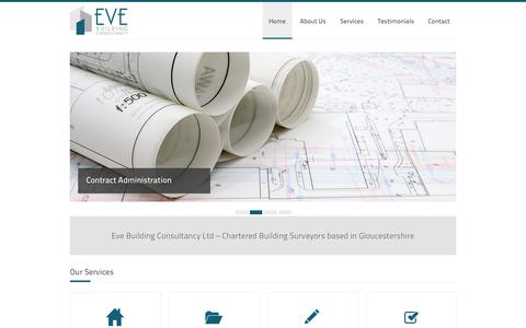 Screenshot of Home Page evebuildingconsultancy.co.uk - Eve Building Consultancy Ltd – Chartered Building Surveyors based in Gloucestershire - captured Oct. 3, 2014