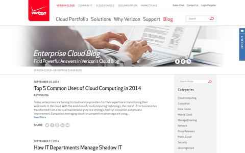 Screenshot of Blog verizon.com - Cloud Computing Blog by Verizon | Enterprise Cloud Blog - captured Sept. 17, 2014