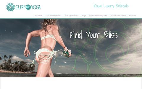 Screenshot of Home Page surfintoyoga.com - Surf into Yoga | Kauai Luxury Retreats - captured Jan. 27, 2015