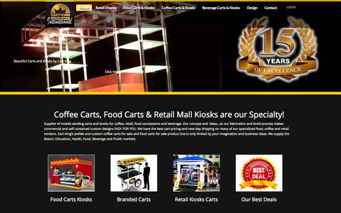 Screenshot of Home Page cart-king.com - Coffee Carts, Food Carts | Beverage & Retail Concessions - captured Sept. 7, 2015