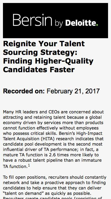 Reignite Your Talent Sourcing Strategy: Finding Higher-Quality Candidates Faster