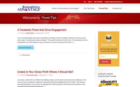 Screenshot of Blog remodelersadvantage.com - PowerTips | The Remodelers Guide to Everything - captured Sept. 18, 2014