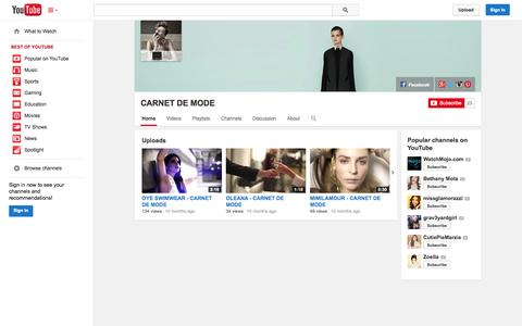 Screenshot of YouTube Page youtube.com - CARNET DE MODE  - YouTube - captured Oct. 22, 2014