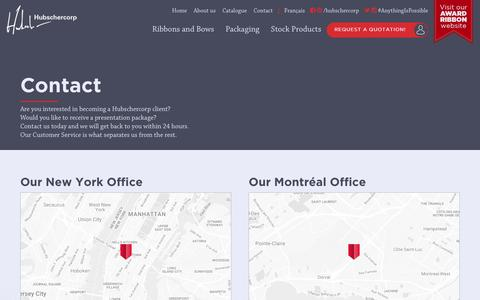 Screenshot of Contact Page hubschercorp.com - Contact   Hubschercorp - Trusted Supplier of Ribbon & Packaging - captured May 24, 2017