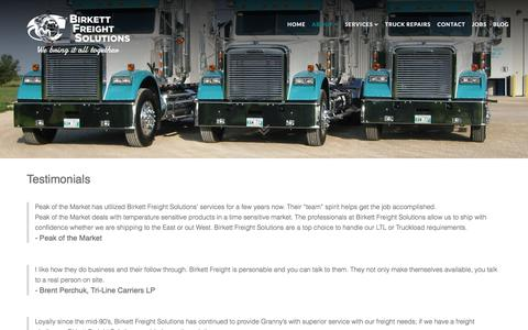 Screenshot of Testimonials Page bfsworld.com - Testimonials - Birkett Freight Solutions - captured Oct. 10, 2017