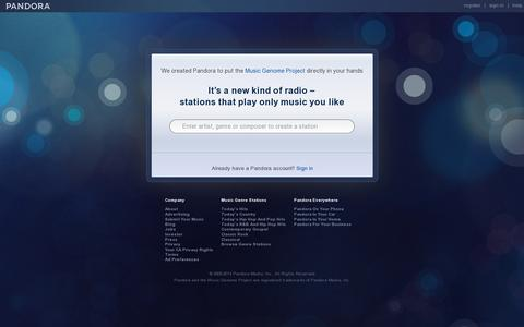 Screenshot of Home Page pandora.com - Pandora Internet Radio - Listen to Free Music You'll Love - captured July 11, 2014